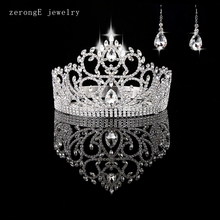 "zerongE jewelry Vintage Style Pageant Beauty Contest Tall 4.5"" heart Tiara Full Circle Round Crystal Crown with earring matching"