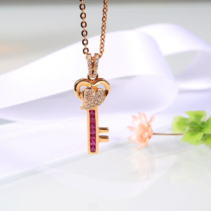 Robira Hot Sell Heart Key Necklaces Pendants Elegant Natural Ruby Floating Charm Wedding Pendants 18K Rose Gold Women Jewelry(China (Mainland))