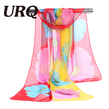 chiffon scarf big flower print women's muslim lady pattern spring and autumn foulard scarf patterns cape shawl wrap 2017 new
