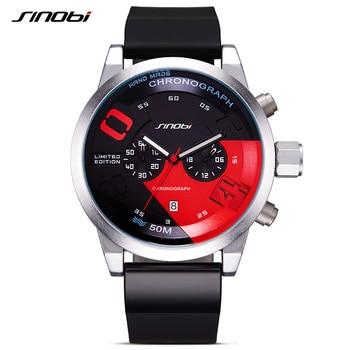 Sinobi nova fast & furious chronograph mens sports relógios de pulso pulseira de borracha homens de luxo da marca genebra relógio de quartzo 2017