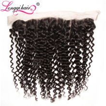 Longqi Hair Cambodian Curly Lace Frontal Closure Non Remy Hair Ear to Ear 13x4 100% Human Hair 10inches-20inches Free Shipping(China)