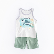 CCSS7037 Giol Me Num Boy Clothing Sets Summer Kid's Clothes Dolphin O-Neck Sleeveless Children Clothing Fashion Suits Vest+Pants(China)