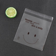 500PCS Smile Printed Cellophane Cookie Bag Biscuit Plastic Packing Bag Wedding Favor Candy Bag OPP Bag With Self Adhesive 10x10(China)