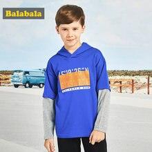Balabala Boys Fake Two Piece Hooded Sweatshirt with Motif Teenage Boys Soft  Cotton Sports Pullover Hoodie for Spring Autumn b661b1f45e2b