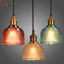 Modern simple colorful glass pendant light E27 3 color led hanging lamp/droplight for dinning bar restaurant deco light fixture(China)