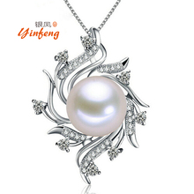 [Yinfeng]Fashion white/pink/black 11-12mm natural freshwater pearl necklace pendant high quality jewelry for women