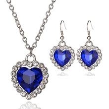 Fashion Romantic Titanic Ocean Heart Pendant Necklaces For Women Blue Rhinestone Choker Necklace Silver Plated Jewelry Wholesale