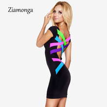 S- XL XXL Plus Size Women Clothing Sexy Black Bandage Mini Pencil Dress Neon Strappy Backless Bodycon Dresses Women Dress C0650(China)