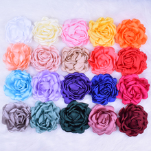 "100pcs/lot 3.74""-4"" Large Singed Burned Satin Flowers Without Clips 23 Colors Fabric Satin Rosettes For Girls Hair Ornaments(China)"