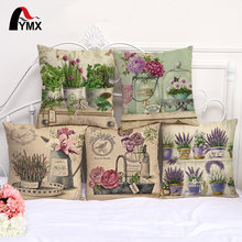 Romantic Flowers Brocade European Cotton Linen Sofa Cushion Cover  Pillowcase Bay Window Decorated With Pillowcases Wholesale