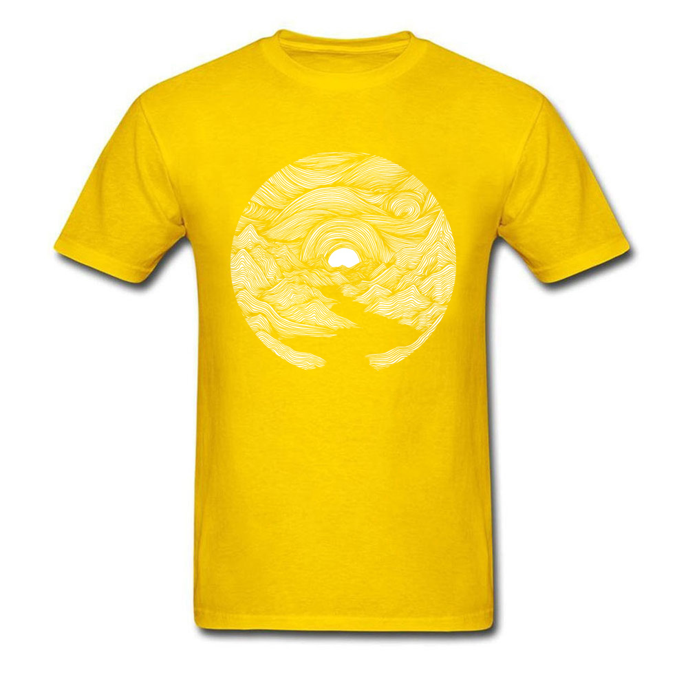 Fjord Sunrise O-Neck Top T-shirts Summer Fall Tops Shirt Short Sleeve Designer 100% Cotton Casual Tee Shirts Printed On Men Fjord Sunrise yellow