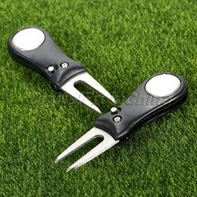 2Pcs Black Stainless Steel Practical Golf Club Ball Putting Green Fork Divot Lawn Golf Training Aids Golf Accessories Sports NEW