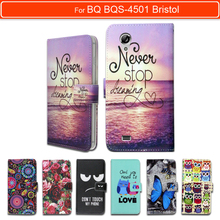 100% Special Luxury PU Leather Flip Cartoon wallet case Book case for BQ BQS-4501 Bristol,gift(China)