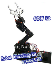 1set Alloy 6 DOF Robot Arm Clamp & Claw & Swivel Stand Mount Kit Robotic Parts For Arduino Brand New Dropship + Free Shipping
