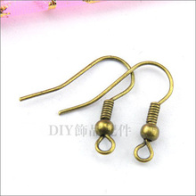 Wholesale 100PCS Bronze Plated 18mm Wire Hooks/Stopper Clips/Earring Posts W/Stoppers  Earring Hooks