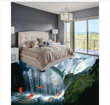 3d wallpaper custom 3d flooring painting wallpaper To stick to draw 3d waterfall floor wall paper 3d living room photo wallpaper(China)