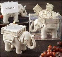 1PCS Fashionable Style Resin Ivory Lucky Elephant Tea Light Candle Holder Wedding Party Home Decoration Gift Durable Candlestick(China)