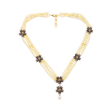 Well Suited Flower Beaded Necklace Birdy Marquise Multilayer Chain Glass Imitation  Simulated Pearl Party Necklaces For Women