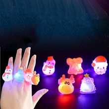 Kids Children Christmas Cartoon LED Flashing Finger Rings Glowing Rings Jewelry Gift Toys Christmas Party Favor(China)