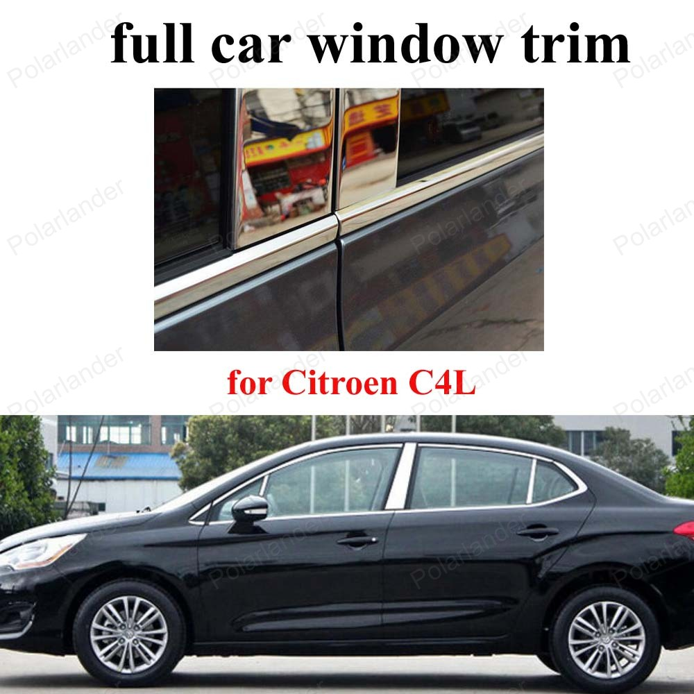 For C-itroen C4L Accessories Stainless Steel Decoration Strip Full Window Trim with center pillar Car Styling <br><br>Aliexpress