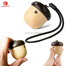 Portable Mini Bluetooth Speaker Cute Wooden Nut Shape Unique Design Outdoor Loudspeaker For Phone Backpack Travel(China)