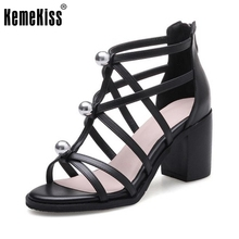 KemeKiss Office Lady Genuine Leather High Heel Sandals Beading Summer Shoes Sexy Club Party Sandal Female Footwears Size 34-39