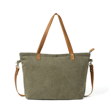 Waxed Canvas with Leather Women Tote Bag Shoulder Bag Diaper Bag Handbag(China)