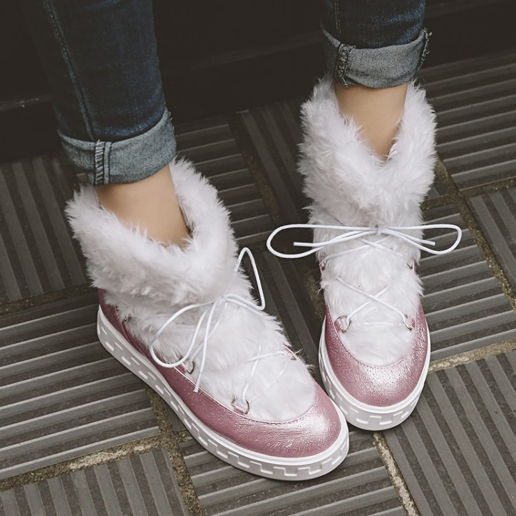 SWYIVY Sweet Fairy Ankle Snow Boots Woman Wedge Increased 2018 Female Lacing High Top Casual Shoes Fur Warm Winter Boot Platform