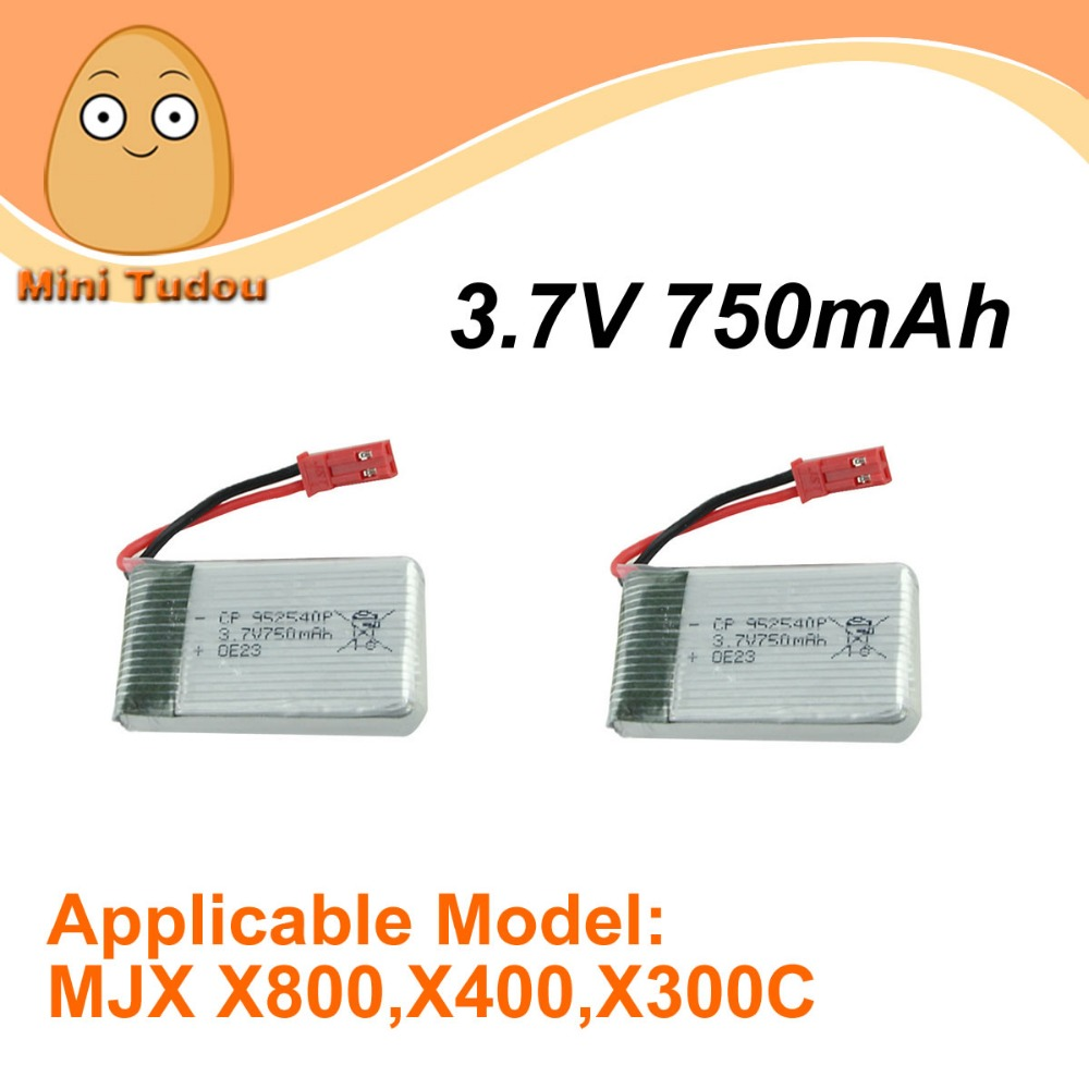Minitudou Remote Control Toys Spare Parts MJX X800 X300C X500 LiPo Battery 3.7V 750mAh 2PCS/Lot<br><br>Aliexpress