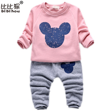 2-5yrsKids Girls Clothes Minnie Sport Suit Girls 2 Pcs Tops Pants Cotton Set Spring Autumn Korean Toddler Girl Children Clothing
