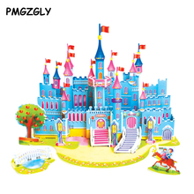 3D jigsaw puzzles children kids toys educational Puzzles DIY Puzzle Jigsaw Baby Kid learning Castle pattern gift Children Houses(China)