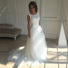 Simply A-Line Country Wedding Dress Soft Tulle Fabric Cheap Wedding Gown Lace Bridal Dress Backless Plus Size