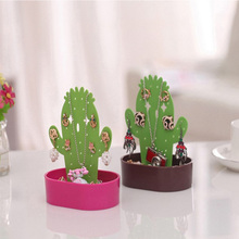 New Creative Cactus Shape Jewelry Display Stand Earring Necklace Bracelet Storage Rack Jewelry Rack House Ornaments Rack Crafts(China)