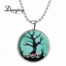 Popular Festival Items Round Shape 60cm Long Ball Chain Man-Eating Tree Creepy Skulls Cool Glow Necklaces Halloween Accessory(China)