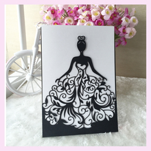 30pcs/lot Beautiful dress girl design birthday paty wedding invitation cards Adult Ceremony invitaiton card blessing card QJ-68
