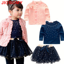 Girls Fashion Coat Jacket Long Sleeve T-Shirt Plus Skirt 3pcs Set Children's Cardigan Pearl Sequin Puff Pink Flower Tutu Suits(China)