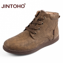 JINTOHO Genuine Leather 망 겨울 화 Fashion Men 가죽 Boots Brand 눈 Shoes Ankle Boots 대 한 Men Winter 눈 남성 부츠(China)