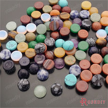 Wholesale Diameter 10mm -multi size optional- Round Natural & synthetic Stone Flat Bottom Domed Cabochons Beads 10 pcs(JM7163)