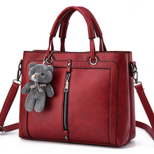 Luxury Red Retro Vintage Bag Designer Handbags High Quality Cute Bear Women Leather Famous Brand Tote Shoulder Hand Bag S-237