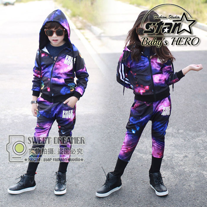 Children Clothing Sets Boys Girls Couples Starry Sky Printed Tracksuits Dacning Sets Top Jackets + Pants Toddler Kids Sets<br><br>Aliexpress