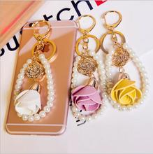 New Arrived PU Lethe Rose Flowers Key Chain Fashion Female Pearls/Alloy Rhinestone Floral decoration Key Ring Bags Pendants