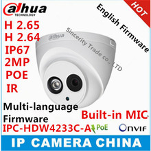 Dahua Stellar IPC-HDW4233C-A H2.65 Built-in MIC HD 2MP IR 50m network IP Camera security cctv Dome Camera Support POE HDW4233C-A