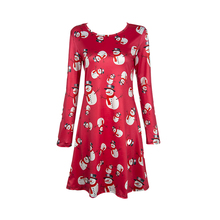 women dress 2017 new fashion O neck full sleeve print Halloween costume Christmas snowman snowflake deer dress 2005(China)
