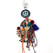 New car keychains lanyards Keys ring key finders bag rings bag chain Leather tassel dream catcher pompoms pendant keychains(China)