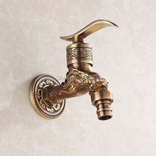 Free Shipping Brass Carved Antique Bronze Plated Washing Machine Faucet Bibcocks Tap Wall Mount Garden Bibcok Torneira GI116(China)