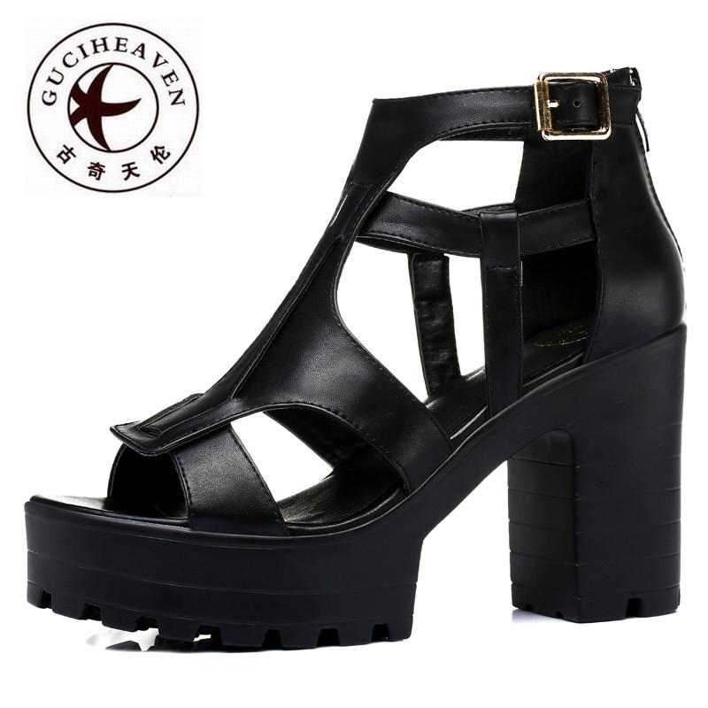 Guciheaven  Fashion Gladiator Women Sandals,Rough High Heels Pumps,Comfortable Leather Women Shoes,Peep Toe Buckle Rome Sandals<br><br>Aliexpress