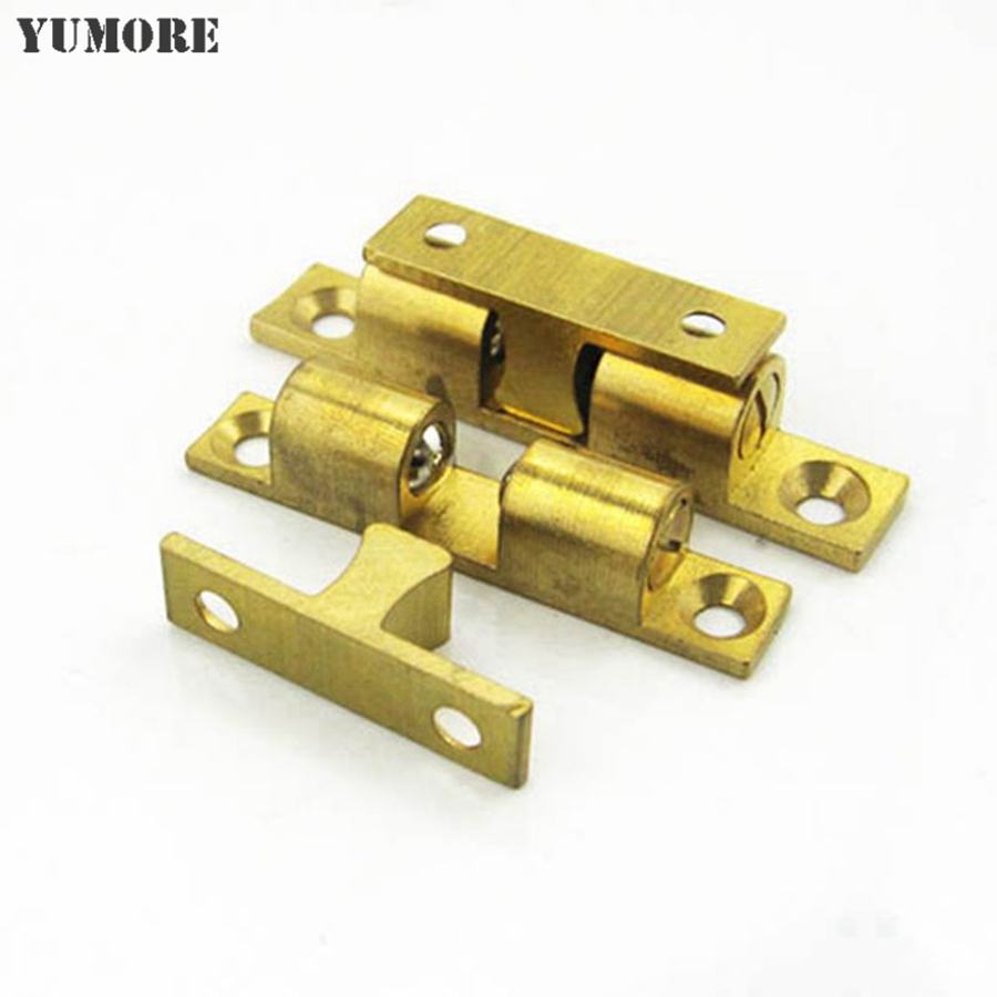 YUMORE 4Pcs 40/50/60/70mm Door Holder Catch Copper Door Stopper Double Ball Latch Brass Tone for Cabinet Door(China (Mainland))