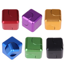 New Creative Fidget Magic Cube Magnetic Square Rotating Fidget Spinner Toy ADHD Decompression Fingertip Gyro w/ Metal Box