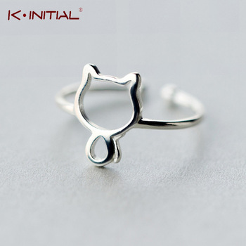 Kinitial 1Pcs New 925 Silver Cool Open Adjustable Baby Cats Ring Statement Rings Cat Jewelry For woman Girl Child Gifts Anel