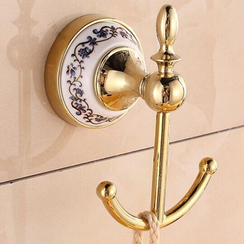 modern fashion gold home decoration wall hooks blue and white ceramic bathroom towel hooks bag clothes hooks kitchen hooks<br><br>Aliexpress